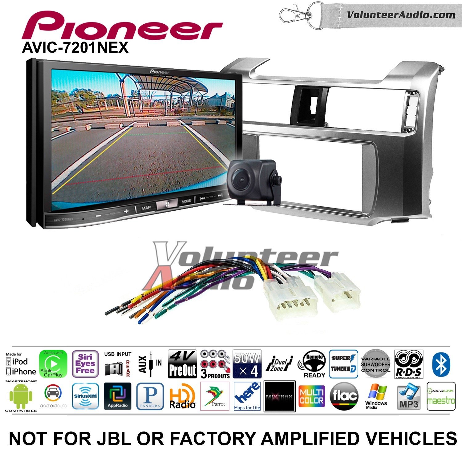 Pioneer AVIC-7201NEX Double Din Radio Install Kit with GPS Navigation Apple CarPlay Android Auto Fits 2010-2013 Non Amplified Toyota 4Runner