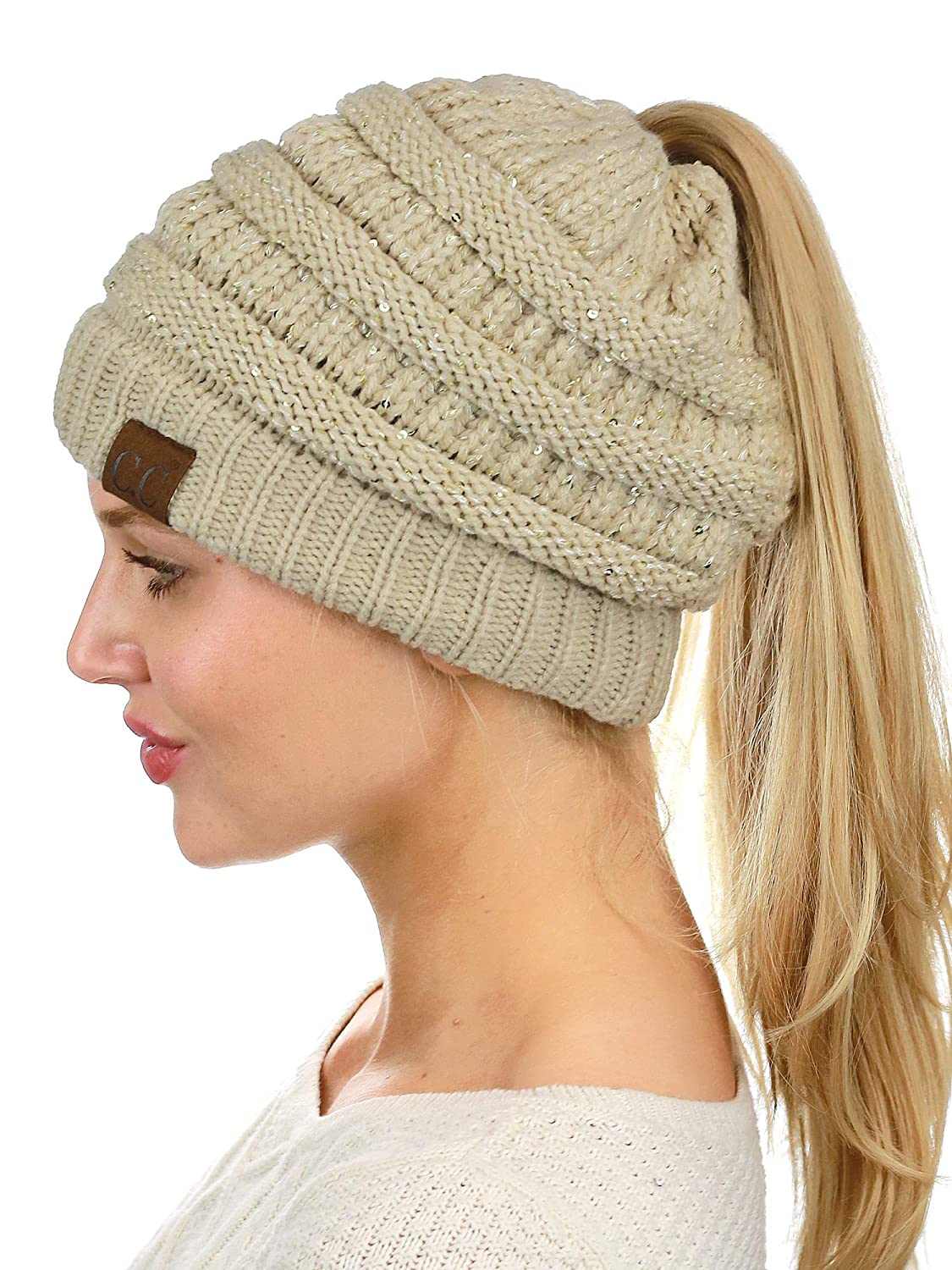 C.C BeanieTail Sparkly Sequin Cable Knit Messy High Bun Ponytail Beanie Hat ee05e1474cf