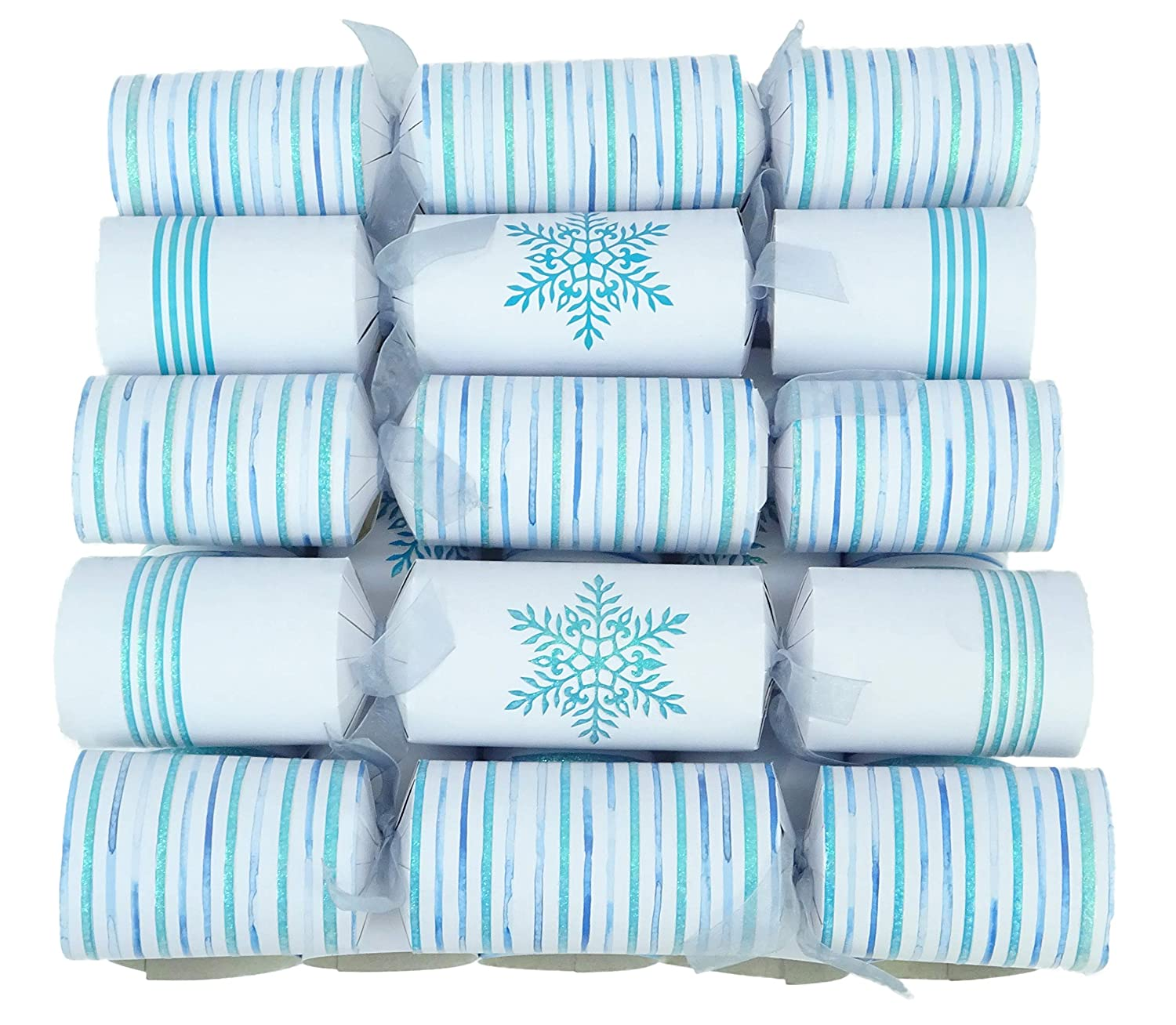 Toyland/® 10 Blue Stripes /& Snowflake Christmas Crackers Table Decorations