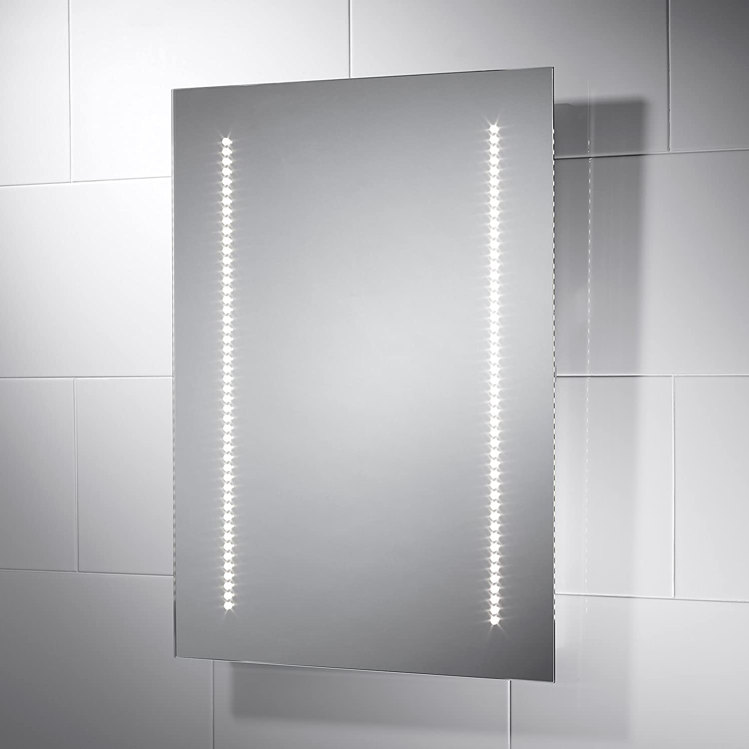 Pebble Grey Rectangular Vienna LED Illuminated Bathroom Mirror With Lights Size 500mmW X 700mmH Infra Red Sensor Switch Dual Voltage Shaver