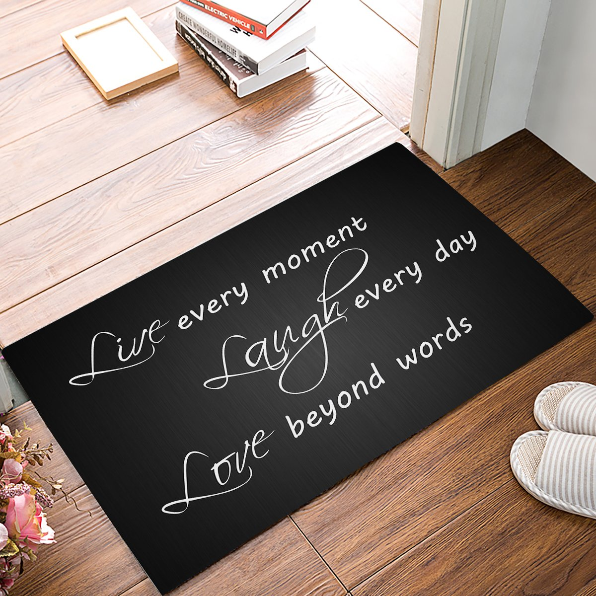 23.6 x 15.7 Inch Live Every Moment Laugh Every Day Love Beyond Words - Door Mats Kitchen Floor Bath Entrance Rug Mat Absorbent Indoor Bathroom Decor Doormats Rubber Non Slip Grey