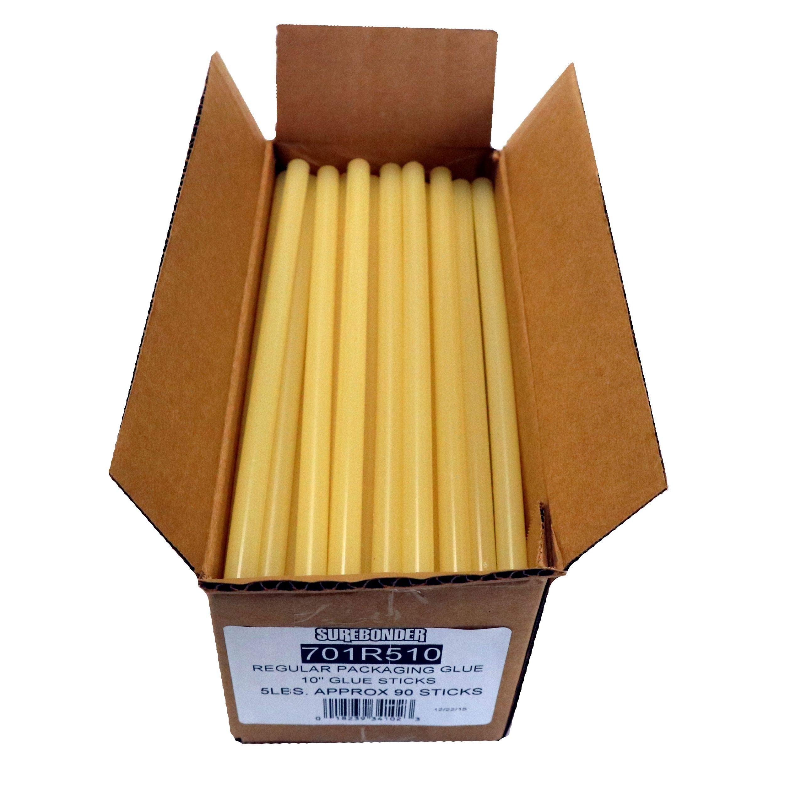 Surebonder 701R510  Fast Set Sealing Standard Glue Sticks, Made in the USA, 7/16'' x 10'' Length, 5 lb. Box, Light Amber, 90 Sticks (Pack of 90)