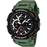 V2A Big Dial Outdoor Sport Shockproof Led Analogue and Digital Waterproof Chronograph Watch for Men