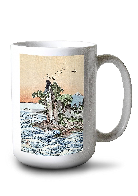 Seacoast村Shichirigahama withの富士山の日本木材カット印刷 15oz Mug LANT-3P-15OZ-WHT-21436 B077RS9P6T  15oz Mug
