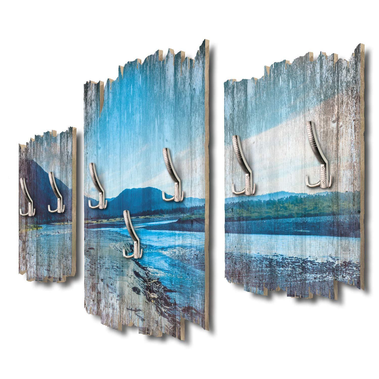 Kreative Feder Waimakariri Fluss Neuseeland Designer Wandgarderobe Flurgarderobe Wandpaneele 95 x 60 cm aus MDF DTGH037