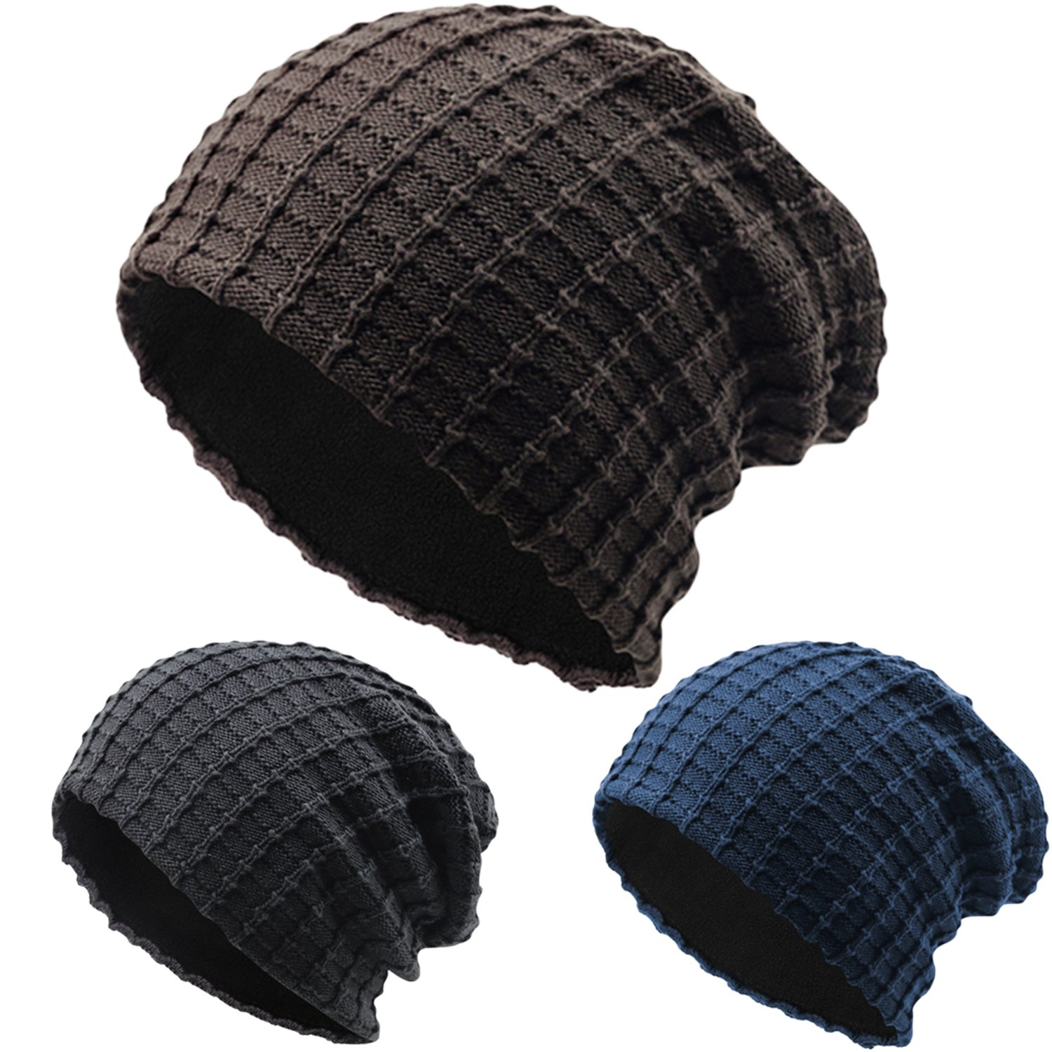 0bb68e7f622fd Slouchy Soft Knitted Beanie Unisex Chunky Ski Snowboarding Headwear Warm  Baggy Hat Casual Cap 2 Pack Black Coffee at Amazon Men's Clothing store: