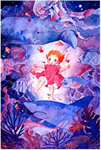 "Noir Gallery Ponyo Movie Poster Painting 5"" x 7"" Unframed Art Print/Poster"
