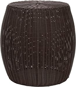 Household Essentials Resin Wicker Side Table, Brown