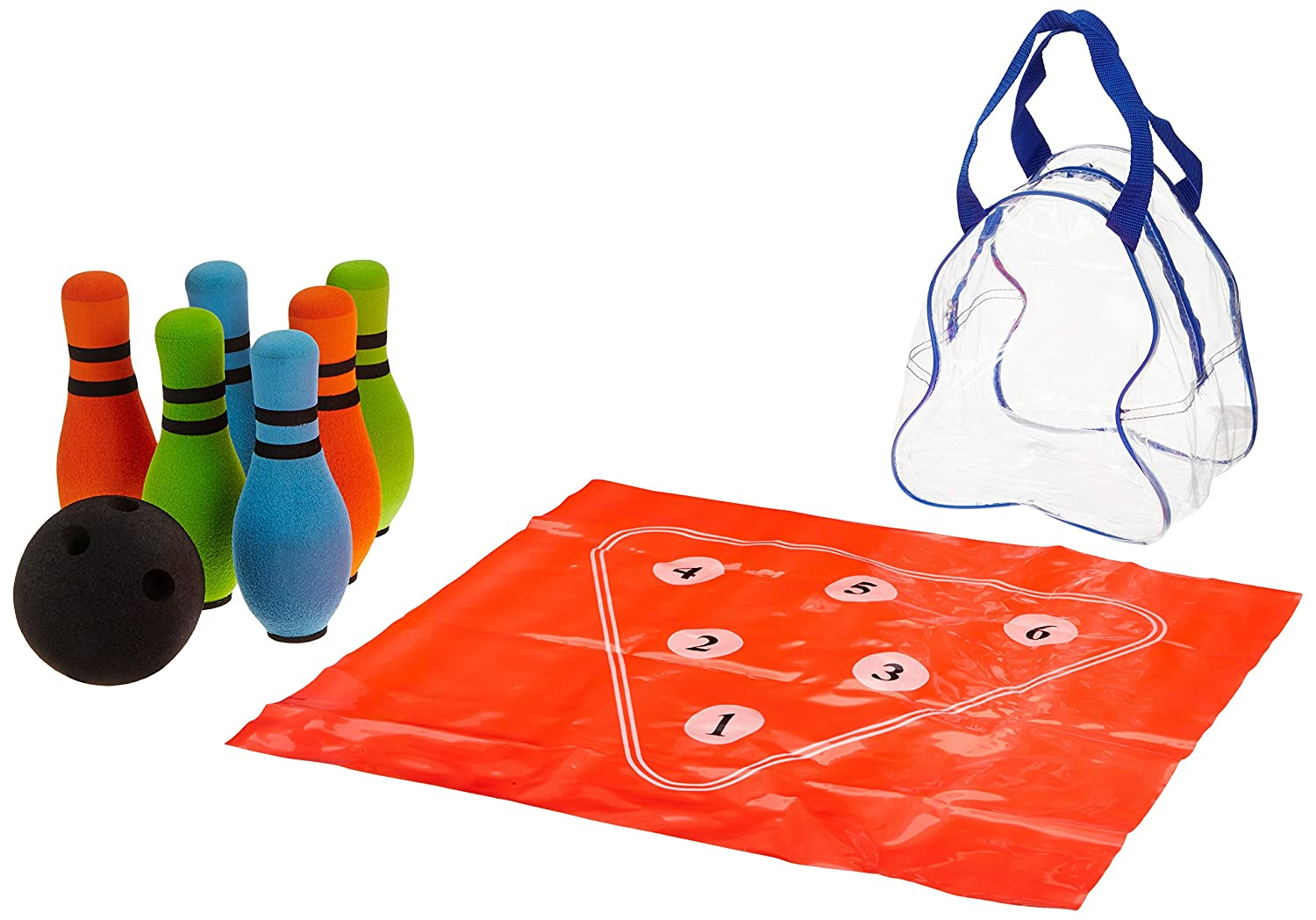 Sammons Preston Bowling Set Improve Motor Skills and Hand-Eye Coordination Soft Foam Ball and 10 Pins for Ambulatory and Wheelchair-Bound Children and Adults Indoor Recess Games for Kids