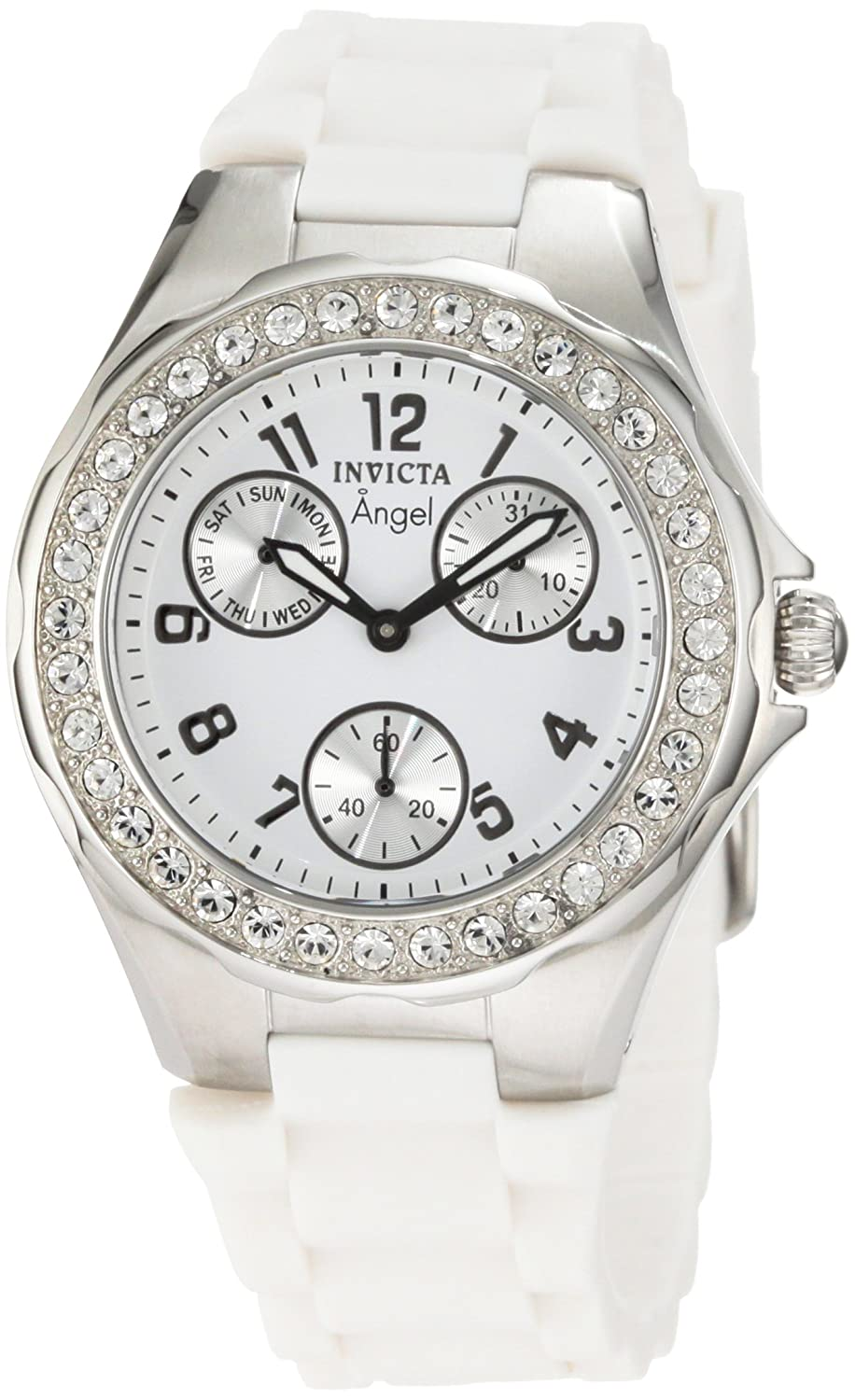 Invicta Women s 1648 Angel Crystal Accented White Dial White Silicone Watch
