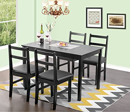 Amazon.com - Merax 5pc Dinning Dinette 4 Person Table Chairs Set ...