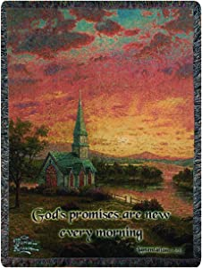 Manual Thomas Kinkade 50 x 60-Inch Tapestry Throw with Verse, Sunrise Chapel