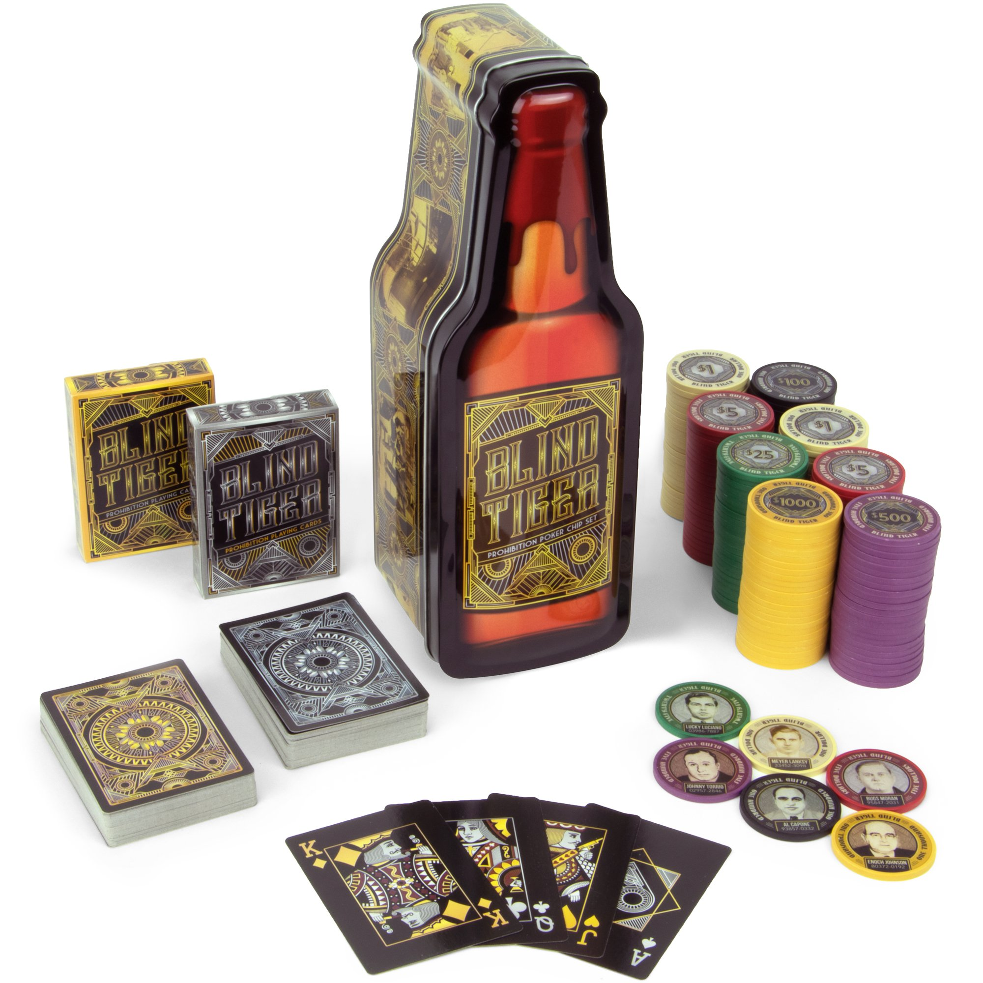 Brybelly Blind Tiger Prohibition Poker Chip Set - 2 Decks Gangster and Roaring Twenties Themed Playing Cards and 200 Poker Chips in Whiskey Bottle Gift Tin by Brybelly