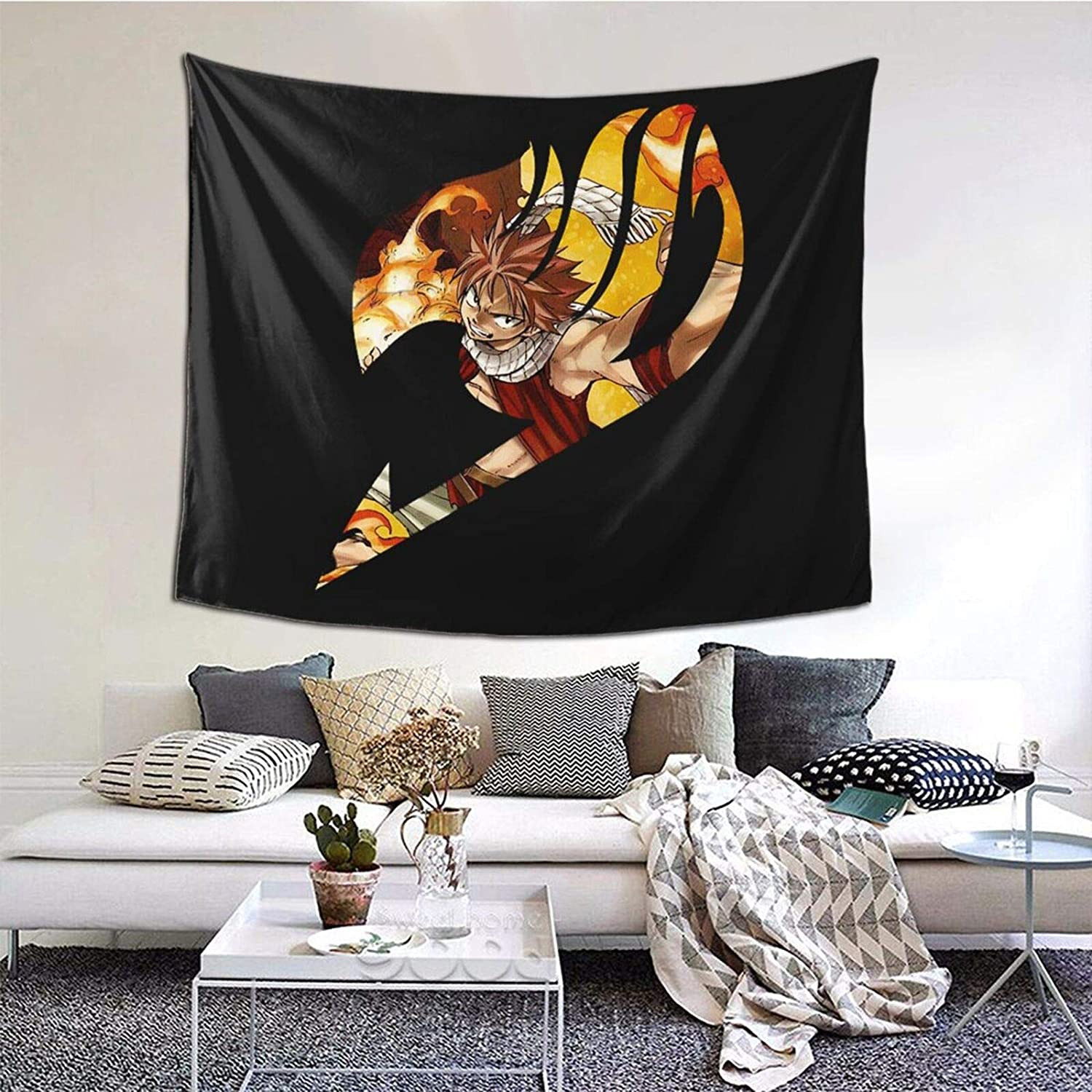 Dekeyue Fairy Tail Natsu Anime Tapestry Psychedlic Lightweight Wall Hanging for Living Room Bedroom Decor 6051in