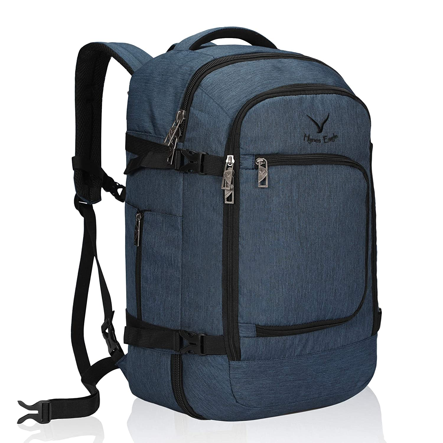 Backpack, Black Hynes Eagle 40L Carry on Backpack Flight Approved Hand Luggage Travel Cabin Bag 51x34x25cm