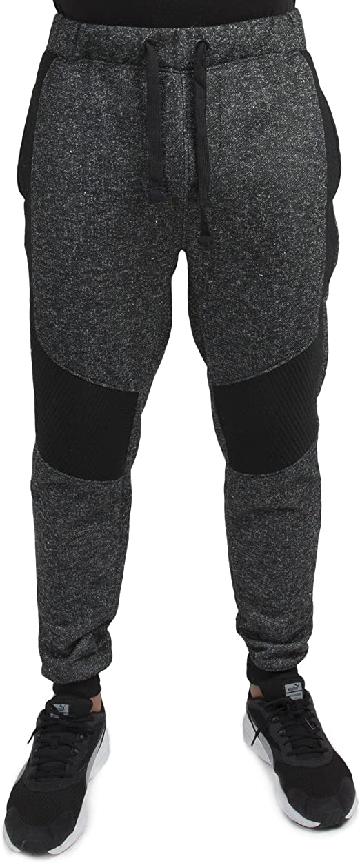 New Mens Slim Fit Jogging Bottoms Fleece Sweats Pants Rib Patch Gym Trousers