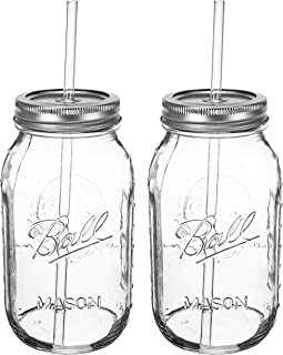 product image for Ball Novel GUZZLER SET a 32oz Mason Jar + Sippin' Lid + Acrylic Straw Reusable Novelty Cocktail Glasses Shabby Chic, 2 Pack, Clear
