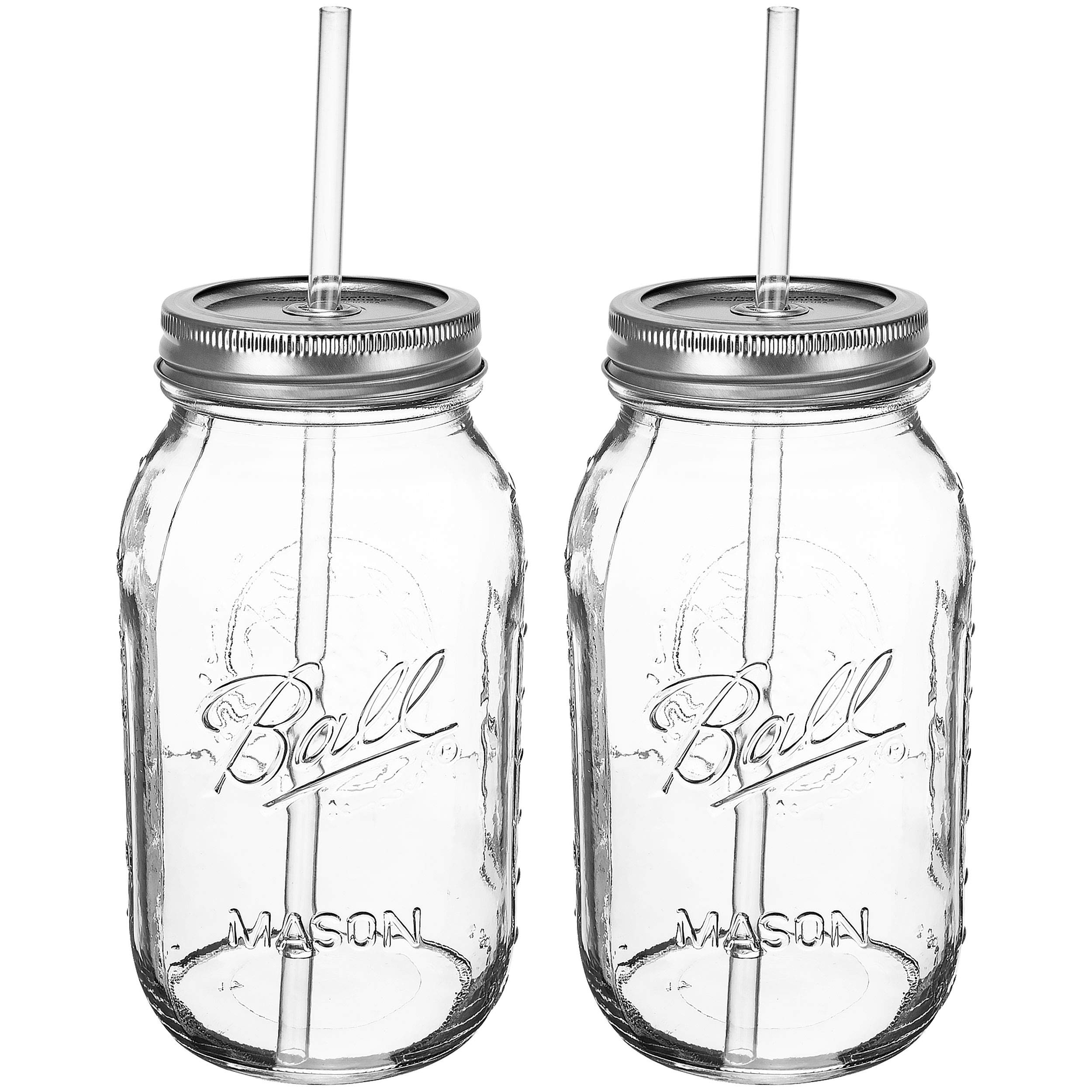 Ball RNWG-SIP-32OZ-2PK Guzzler Set a 32oz Mason Jar + Sippin' Lid + Acrylic Straw Reusable Novelty Cocktail Glasses Shabby Chic, 2 Pack Clear