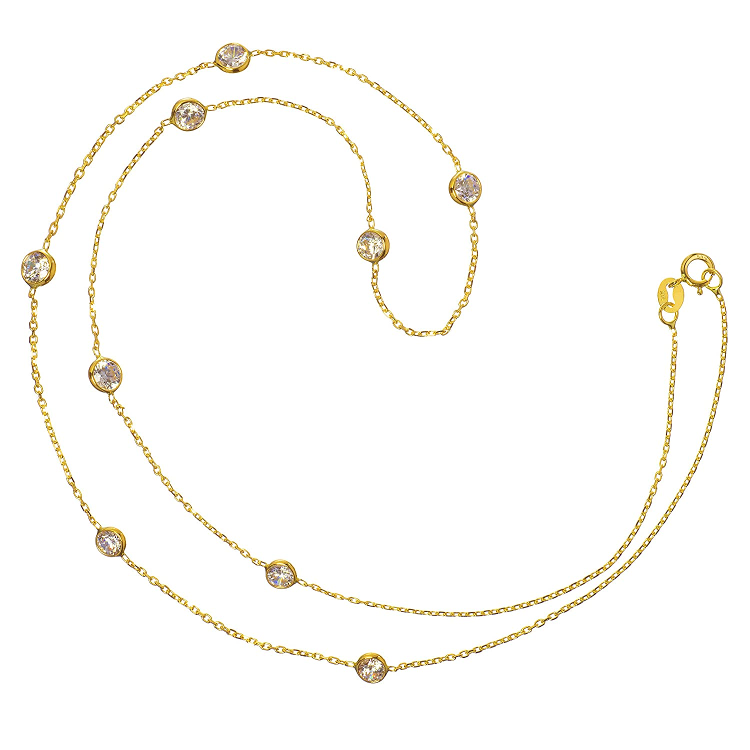 With Gift Box 14K Solid Gold or Sterling Silver Cubic Zirconia Station Necklace or Bracelet 7 Inch or 18 Inch Length Cable Rolo Chain