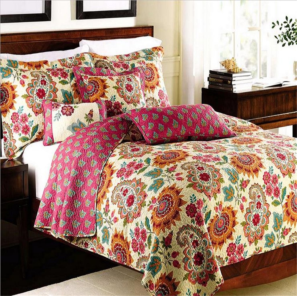 3 Piece Cotton Floral Patchwork Bedspread/Quilt Sets