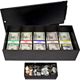 Nadex Lockable Metal 5 Compartment Currency Tray with Coin Tray Insert and Bill Wrappers   Cash Box with Sliding Lockable Cov