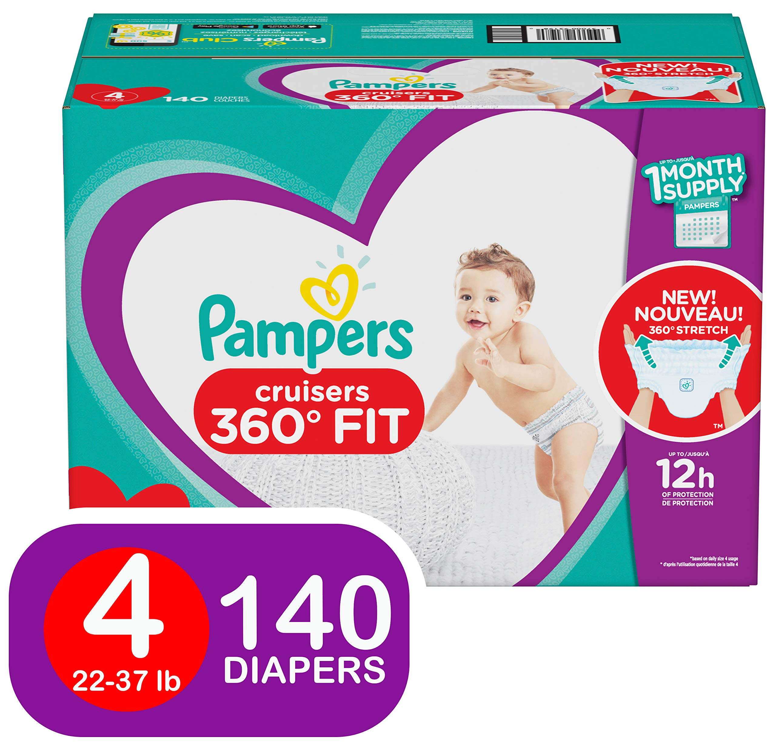 Diapers Size 4, 140 Count - Pampers Pull On Cruisers 360˚ Fit Disposable Baby Diapers with Stretchy Waistband, ONE Month Supply by Pampers
