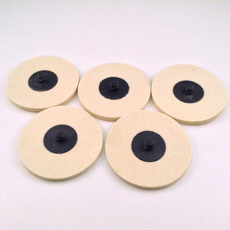 """10Pcs 2/""""Roloc Compressed Wool Felt Disc Quick Change Polishing Buffing Pad Wheel"""