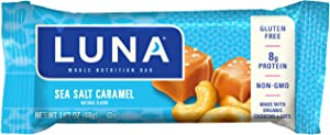 LUNA BAR - Gluten Free Snack Bars - Salted Caramel Cashew Flavor -8g of protein - Non-GMO - Plant-Based Wholesome Snacking - On the Go Snacks (1.69 Ounce Snack Bars, 15 Count)
