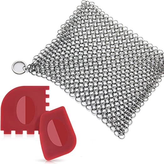 "316L Chainmail Cast Iron Scrubber for Lodge Pans Skillets /& Dutch Ovens 8/""x6/"""