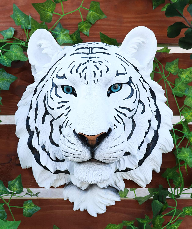Ebros Gift Large Rare Blue Eyed White Siberian Tiger Head Wall Decor Plaque 16
