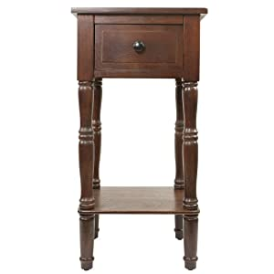 Décor Therapy Simplify One Drawer Square Accent Table, Walnut
