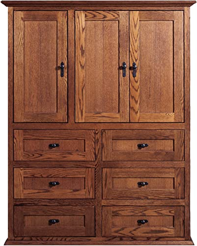 Forest Designs Mission 10 Drawer Armoire, 46W x 60H x 18D, Black Oak