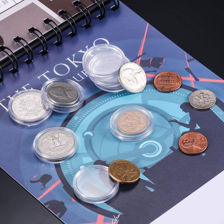 25 mm Monedero C/ápsulas Transparente Redondo Pl/ástico Monedas Caja Contenedor para Monedas Suministros de Colecci/ón 100