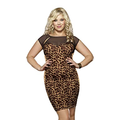 Plus Size Animal Print Stretch Dress