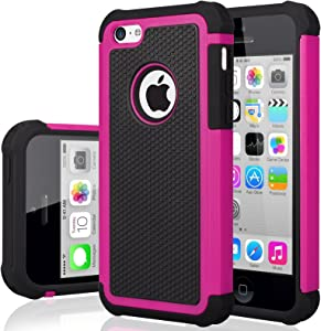 iPhone 5C Case, iPhone 5C Cover, Jeylly Shock Absorbing Hard Plastic Outer + Rubber Silicone Inner Scratch Defender Bumper Rugged Hard Case Cover for iPhone 5C - Rose