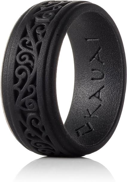 KAUAI Mens Silicone Wedding Ring Brown Size 9