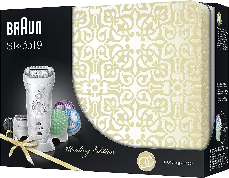 Braun Silk-épil 9 SkinSpa 9-961V - Depiladora para mujer eléctrica, sistema de exfoliación y cuidado de la piel 4 en 1 + 12 accesorios, oro rosa/blanco