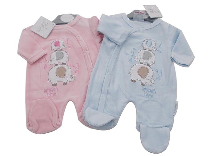 BNWT Tiny Baby para bebé (talla bebés prematuros poco elefante terciopelo pijama ropa Azul azul