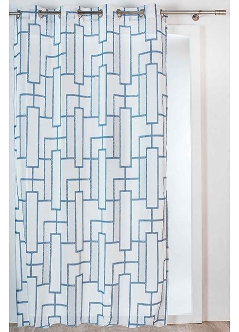 Poliestere Homemaison Perth Tenda a Jacquard Geometrica 260/x 140/cm Grigio