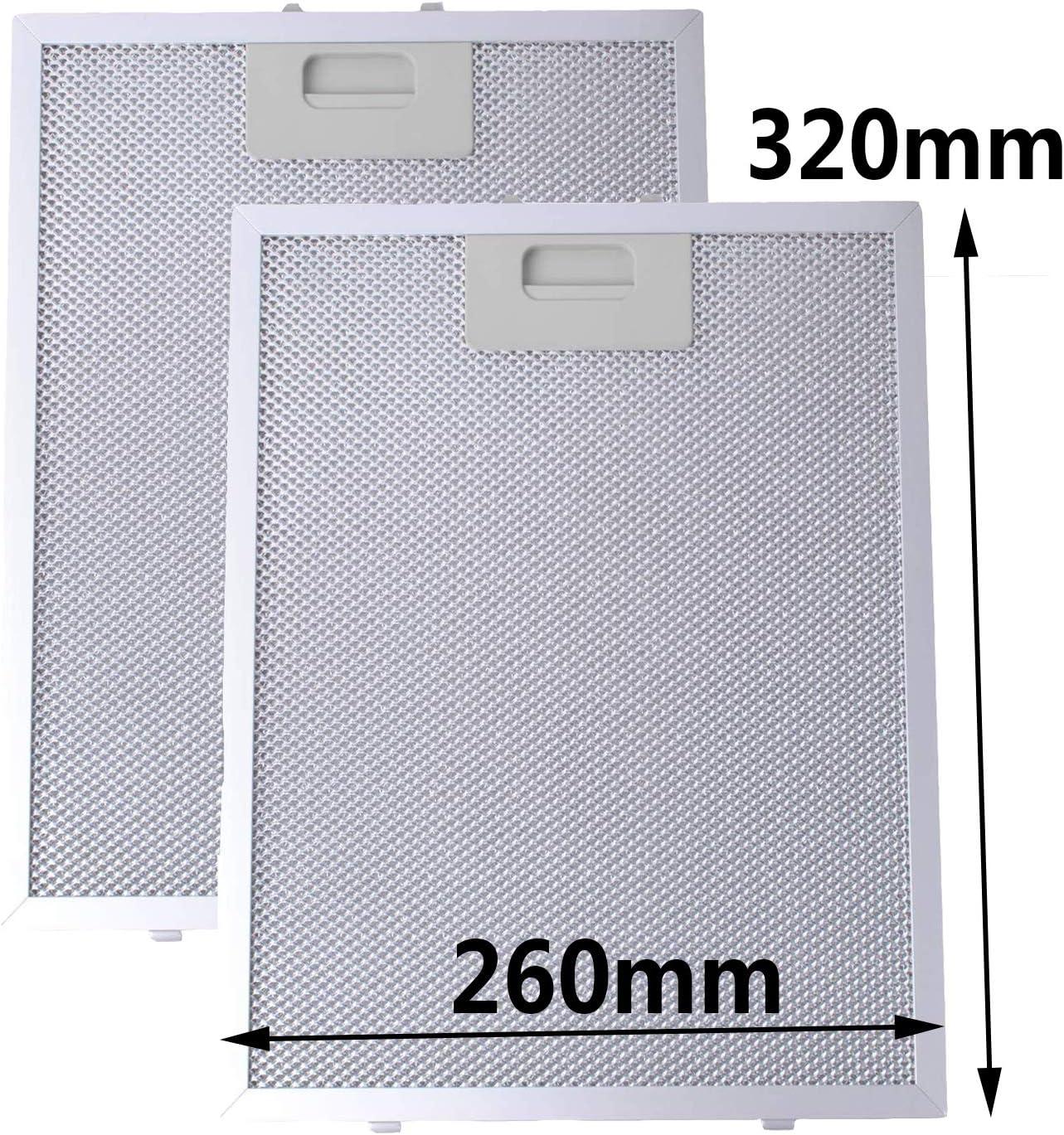 Filtro de Grasa Universal para Campana Extractora de Cocina por Poweka (Plata, 320 x 260 mm, 2 Piezas)