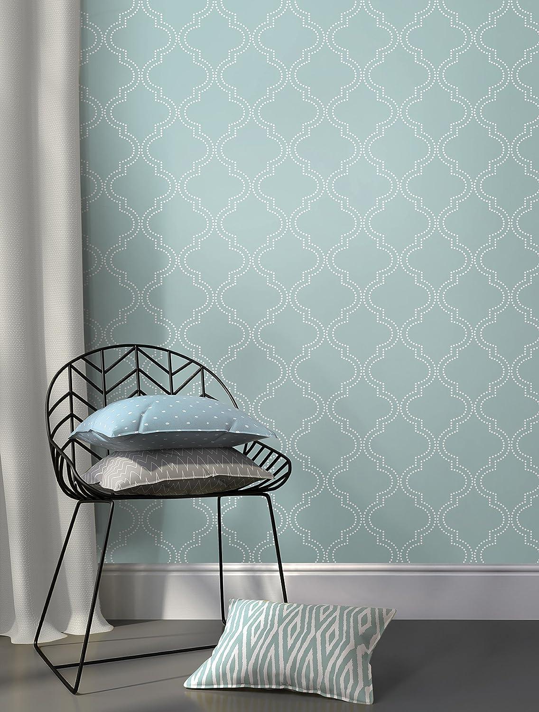 Wall Pops NU1826 Quatrefoil Peel and Stick Wallpaper, Slate Blue ...