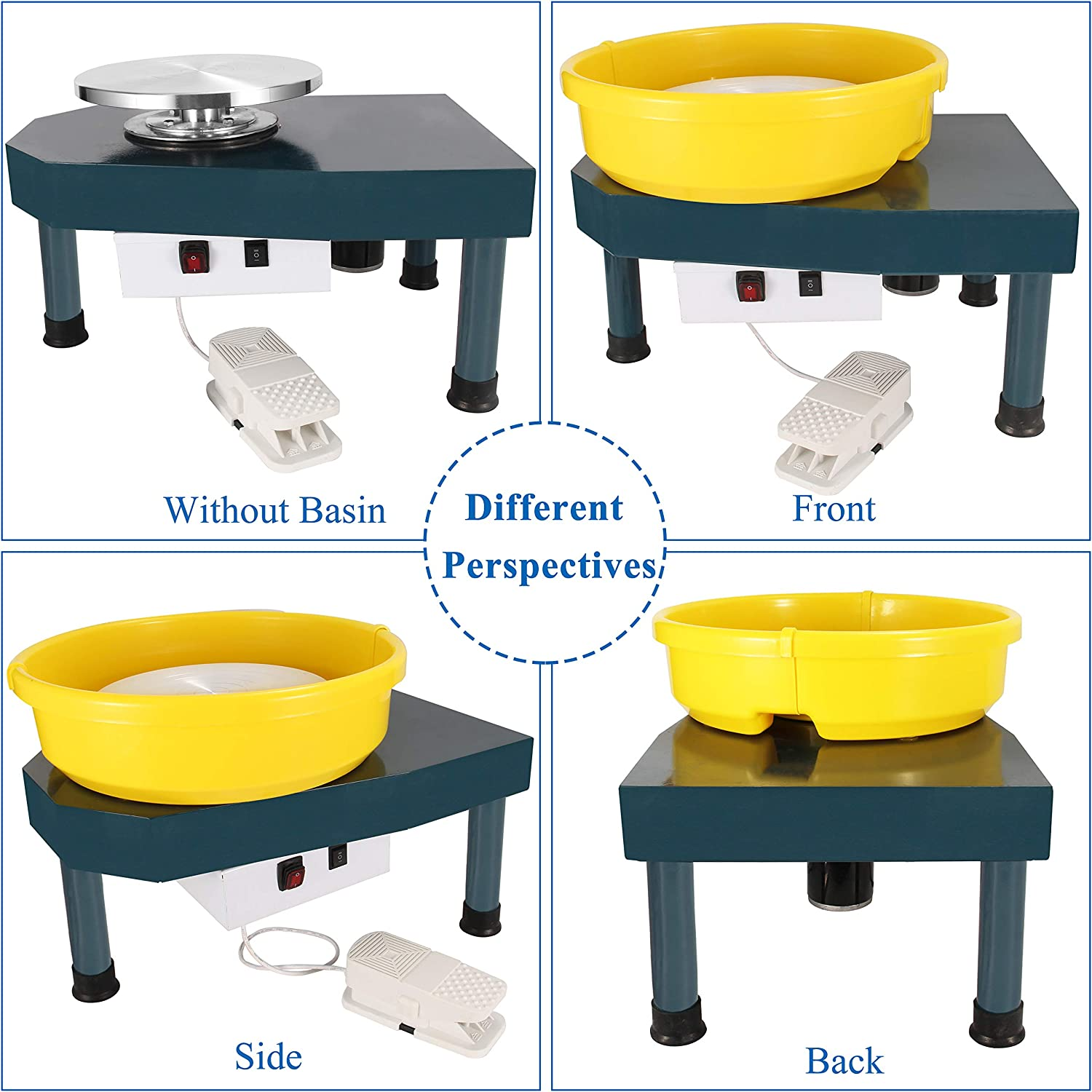 Huanyu Pottery Machine Ceramic Machine Pottery Wheel 250W 30CM Pottery Forming Machine with Foot Pedal and Detachable Basin 110V, Ordinary Type