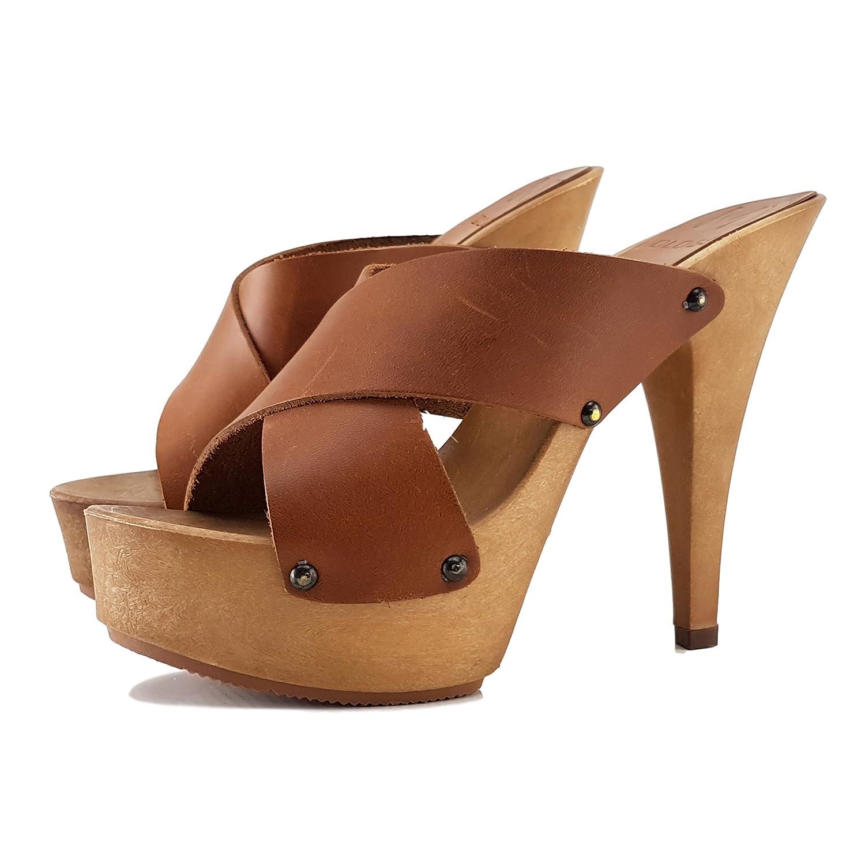 kiara shoes Zueco Cuero Tacon Aguja 13-MY392 40 EU