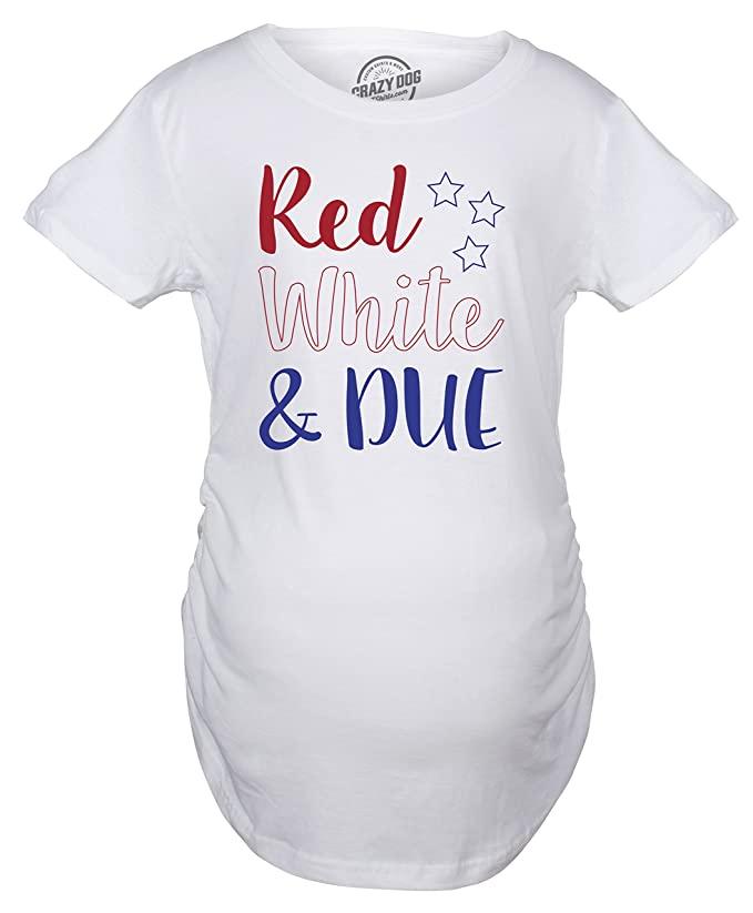 16f30a913e9e0 Maternity Red White and Due Pregnancy Tshirt Cute 4th of July Baby Tee for  Baby Bump at Amazon Women's Clothing store:
