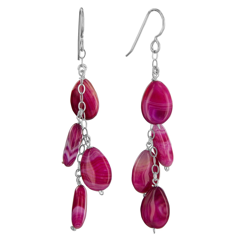 Pink Onyx Chandelier Sterling Silver Long Earrings by ASHANTI