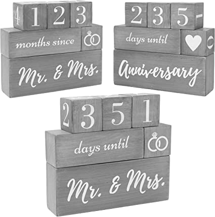 Bride To Be The Original Reversible Wedding /& Anniversary Countdown Table Block Fianc/é or Couples 6 Piece Perfect for Bridal Shower or Engagement Party - Unique /& Funny Engagement Gift for a Bride