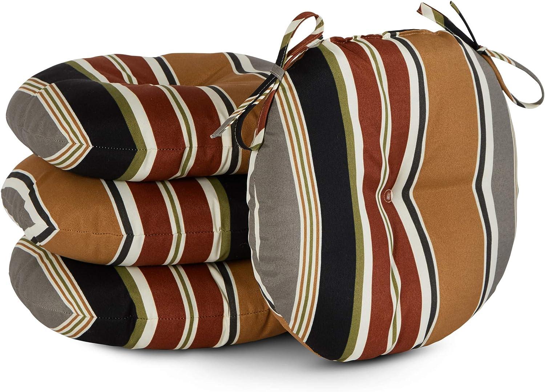South Pine Porch AM6816S4-Brick Brick Stripe 15-inch Round Outdoor Bistro Chair Cushion, Set of 4
