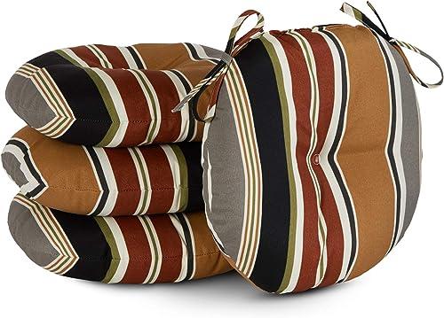 South Pine Porch AM6816S4-Brick Brick Stripe 15-inch Round Outdoor Bistro Chair Cushion