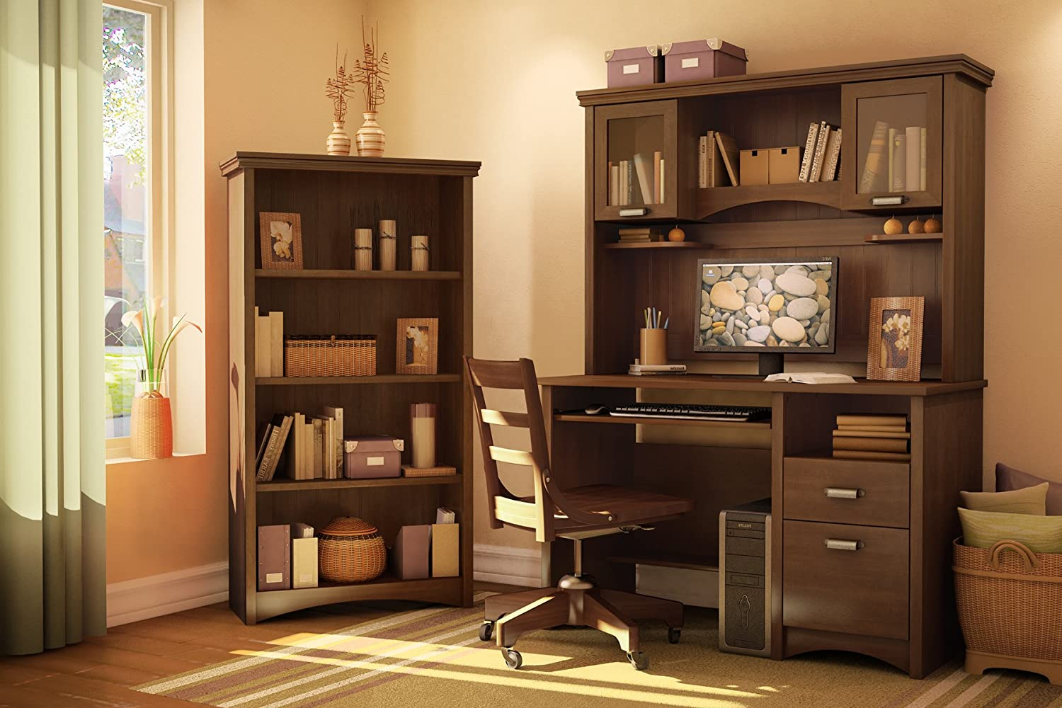 Amazon.com: South Shore Furniture Gascony Collection Small Desk, Sumptuous  Cherry: Kitchen U0026 Dining