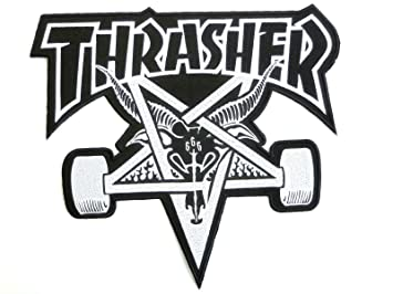 THRASHER 666 Skate Goat Baphomet Iron On Sew Embroidered Patch With Skater Punk